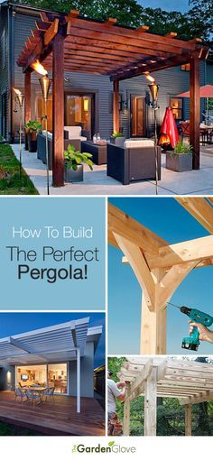 Here's a great entry from contestant Gina Tucci! A wooden pergola can really change the look of your yard. Add tiki torches and some great outdoor furniture to create a great relaxing space! Have YOU entered your board for the My Dream Backyard sweepstakes? | Repin: How To Build The Perfect Pergola! • Great Ideas and Tutorials! #PinMyDreamBackyard