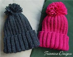 A one skein, quick and easy project - 3 or 4 hours while watching TV for each hat, pompom non included - knitted all in the round - no seaming!