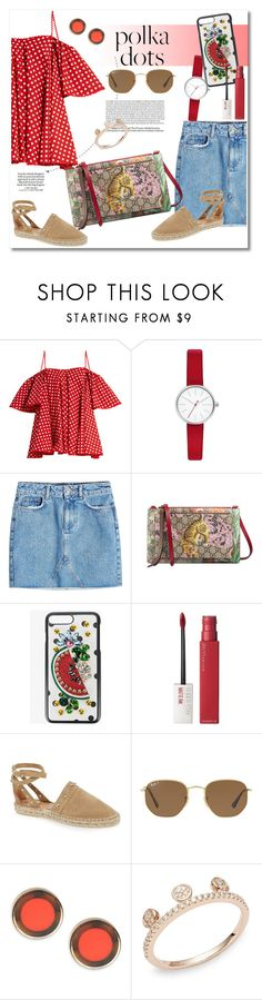 """Get the look dots"" by vkmd ❤ liked on Polyvore featuring Anna October, Skagen, Anine Bing, Gucci, Dolce&Gabbana, Maybelline, Topshop, Loewe, Ray-Ban and Kate Spade"