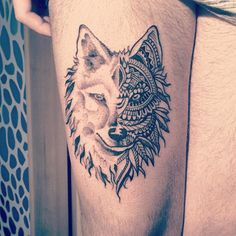 Fabulous Hippie Tattoo Art On Men Thigh