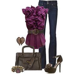 Paige Hidden Hills Flare Jean + Ruffled front blouse + Ralph Lauren Leather belt + MYSUELLY Large leather bag + Qupid Glitter-67 Pump