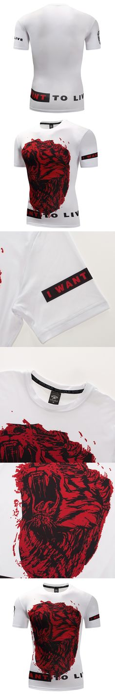 Tiger Head Mens 3D Compression T shirts Bodybuilding Shirts Best Quality O Neck Tights tshirts Short Sleeve