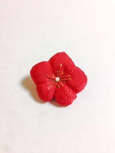 FREE SHIPPING, Japanese barrette, Ume japanese red flower, Hair Barrette, Red barrette, Floral barrette  #C by SmithjackJapan on Etsy