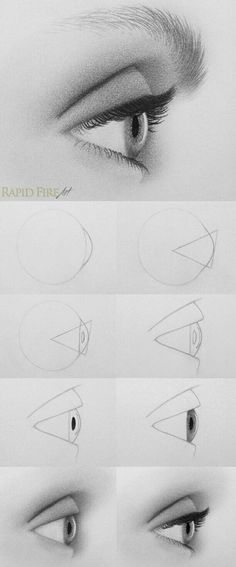 ideas for drawing tutorial eyes pictures disegno occhi, tutori Pencil Art Drawings, Cool Drawings, Drawing Faces, Eye Drawings, Drawing An Eye, Side Face Drawing, Drawing Art, Profile Drawing, Amazing Drawings