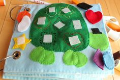 Matching shapes on the turtle shell. The Quiet Book Blog