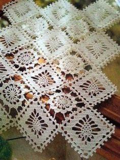 Home Decor Crochet Patterns Part 111 - Beautiful Crochet Patterns and Knitting Patterns Crochet Dollies, Crochet Doily Patterns, Crochet Squares, Thread Crochet, Crochet Motif, Crochet Designs, Knitting Patterns, Crochet Blocks, Crochet Table Runner