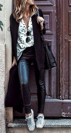 Dotted White Shirt + Leather Pants + Sneaker Source