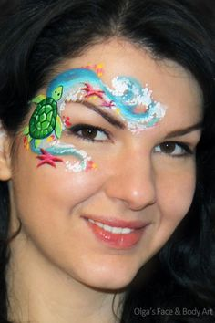 Turtle face painting, I like the idea of this if I could do less detail for a quick face paint...