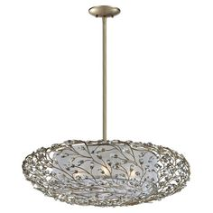 Foret 4-Light Pendant. Showcasing an elegant branch-inspired overlay with gleaming crystal accents, this gorgeous pendant adds a touch of enchantment to your dining room, living room, or foyer.