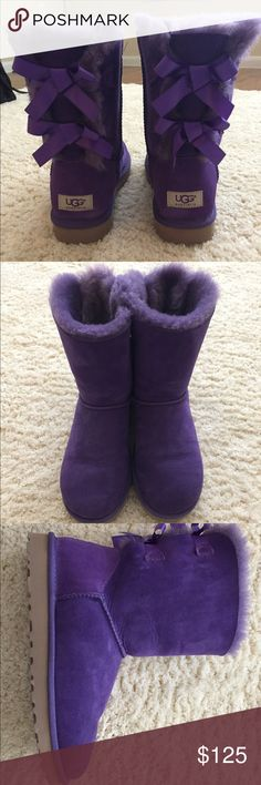 UGG Bailey Bow (purple) Boots Excellent condition, only used outside a few times UGG Shoes Ankle Boots & Booties