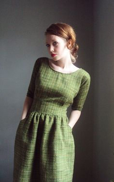 Lovely green pocketed dress.