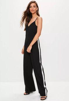STYLECASTER | Fall Jumpsuits | Black Wide Leg Stripe Jumpsuit