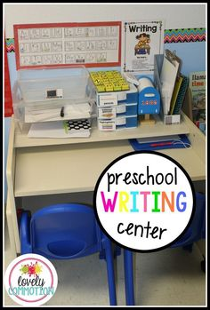 What should you put in your preschool writing center? Come see what is in mine! Ideas and resources for a preschool, pre-k or kindergarten writing center. Preschool Rooms, Preschool Centers, Preschool Literacy, Preschool Lessons, Learning Centers, Preschool Room Layout, Preschool Classroom Themes, Circus Classroom, Classroom Helpers