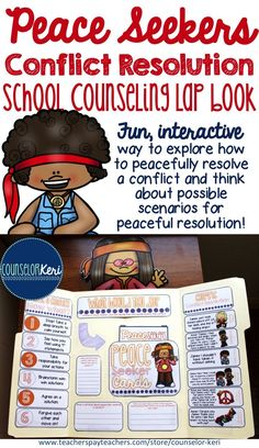 Peace Seekers Conflict Resolution lap book for elementary school counseling - fun way to explore peaceful resolution strategies! Elementary School Counselor, School Counseling, Elementary Schools, Counseling Activities, Therapy Activities, Play Therapy, Speech Therapy, Counseling Techniques, School Social Work