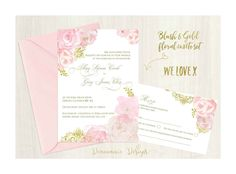 Blush and gold Floral invitation set. Gold Invitations, Floral Invitation, Invitation Set, Blush And Gold, Pretty In Pink, Reception, Design, Gold Save The Dates, Flower Invitation