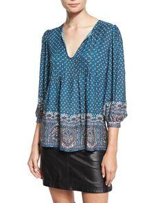JOIE Rinjani Printed Split-Neck Top, Deep Marine. #joie #cloth #