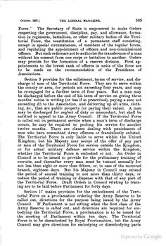 """A description of the Territorial and Reserve Forces Act of 1907, from the pages of """"The Liberal Magazine"""""""