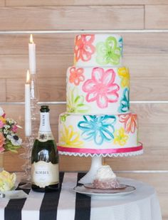 Painted Fondant Wedding Cake or it could be a good teen girls cake