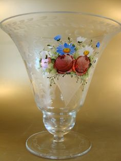Vintage Bohemian etched and hand painted glass vase