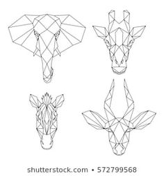 Set of geometric african animals, abstract polygonal style elephant, giraffe, zebra, antelope Geometric Drawing, Geometric Art, Geometric Giraffe Tattoo, Zebra Tattoos, Giraffe Drawing, African Tattoo, Polygon Art, African Animals, Stock Foto