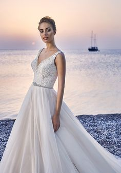 A-line gown with V-neckline, tulle skirt, and embellished lace I Style: Elba I by Eddy K I http://knot.ly/6497Bf8Bc