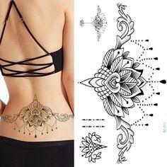 TOMTOSH Waterproof Temporary Tattoo sticker large size lotus totem on waist breast back Water Transfer - maori tattoos Mandala Tattoo Design, Dotwork Tattoo Mandala, Henna Tattoo Designs, Waist Tattoos, Foot Tattoos, Sexy Tattoos, Body Art Tattoos, Spine Tattoos, Sternum Tattoos