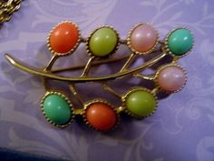 Signed Sarah Coventry Brooch Pin Vintage Pastels Green Pink Orange Cabochons on  #SarahCoventry