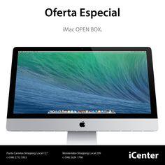 "Oferta Especial. iMac Open Box. iMac con pantalla de 27.0"", procesador de 3.4GHz, memoria RAM de 8GB, almacenamiento HDD de 1TB, modelo ME089CI/A, Precio U$S 2.699."