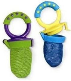 Fresh food feeders! Our 9-month-old is loving these right now.