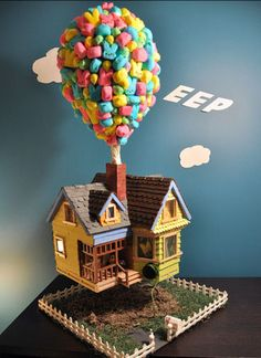 I adore the movie UP. This little scene is made from PEEP, the marshmallowy Easter candy. CUTE!