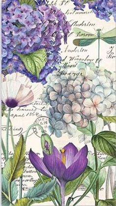 Purple Hydrangea Print - Calligraphy and Flowers Floral Vintage Collage Country Cottage Home Decor Creative collage art. Decoupage Vintage, Vintage Collage, Vintage Ephemera, Vintage Cards, Collage Art, Vintage Paper Crafts, Decoupage Art, Collage Sheet, Art Floral