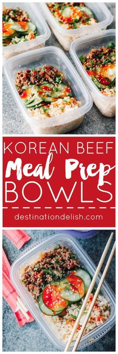 Korean Beef Meal Prep Bowls | Destination Delish - Korean ground beef paired with crisp, tangy cucumbers on a bed of rice. 20 minutes in the kitchen for a week of lunches!