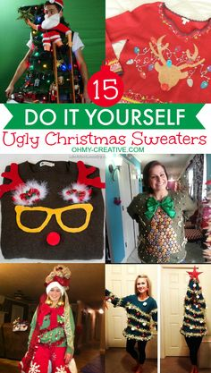 15 Do It Yourself Ugly Christmas Sweaters - Oh My Creative - - 15 DIY Ugly Christmas Sweaters you can make! Get creative and make your own Ugly Christmas Sweater with these 15 tacky Christmas Sweaters ideas! Diy Ugly Christmas Sweater, Ugly Sweater Party, Xmas Sweaters, Christmas Outfits, Christmas Parties, Ugly Sweaters Diy, Kids Ugly Sweater, Tacky Sweater, Winter Parties
