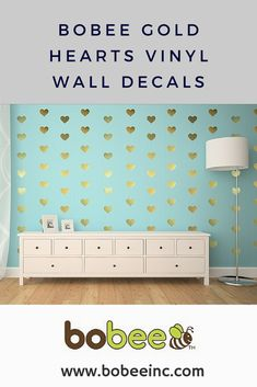 Bobee Gold Heart Wall Decor ~ wonderful way to decorate a girls room.