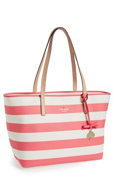 A pretty coral tote for summer.