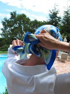A step-by-step pictorial on how to tie a gorgeous head scarf #breastcancer #silverlining