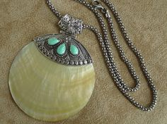 Shell w/Turquoise Sterling Silver Pendant & chain