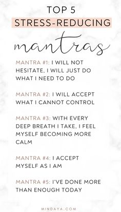 These 5 top mantras to live by are LIFE-SAVERS when it comes to managing stress and anxiety! The more you repeat each of these mantras, the more calm, centred, and at-peace you'll feel! Meditation Benefits, Meditation Quotes, Mindfulness Quotes, Mindfulness Meditation, Guided Meditation, Meditation For Anxiety, Spiritual Meditation, Anti Stress, Spirituality