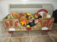 Our homemade dog toy box all filled up with toys!