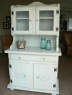 DIY makeover- 70's hutch to shabby chic  - I see an 80's dresser made to do this...and chicken wire