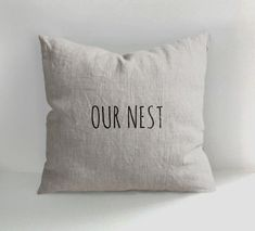 OUR NEST - 100% Hand Drawn Linen Pillow -Decorative Pillow COVER - Throw Pillow - Natural Linen - Scandinavian Style - Hand drawn by ANamDesign on Etsy