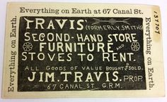 Trade card for Travis' Second-Hand Store, 67 Canal St - c. 1890 - Part of the Public Museum collection, http://www.grmuseum.org