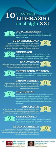 10 claves de liderazgo en el siglo XXI vía @IMF Business School @Janetdeltronco #infografia #infographic: