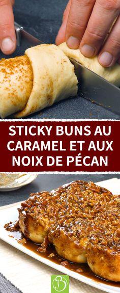 Si vous aimez les brioches à la cannelle, vous allez adorer les Sticky Buns ! Roulé à la pâte levée, au caramel et aux noix de pécan. Un délice venu tout droit des États-Unis et du Canada. #stickybuns #roulés #cannelle Bread Recipes, Cooking Recipes, Biscuits, Cinnabon, Sticky Buns, Pan Dulce, Cinnamon Rolls, Sweet Recipes, Bakery