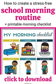 Are you looking for the best school morning routine for kids? Check out these 5 easy tips that will help you enjoy stress-free mornings and download a printable school morning routine checklist to use with your kids!  - Parenting tips Morning Routine Printable, Morning Routine Kids, Morning Routine Checklist, Parenting Toddlers, Kids And Parenting, Parenting Hacks, Kids Behavior, School Readiness, Gentle Parenting
