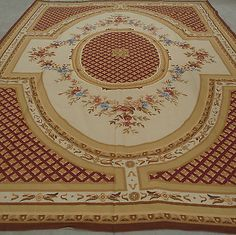 10'x14' Handmade French Aubusson Design Roses Wool Needlepoint Area Rug~New