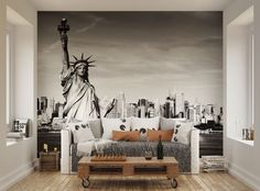 ohpopsi Black And White Statue Of Liberty Wall Mural