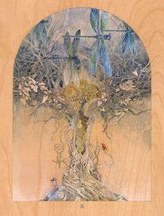 """""""Entangle"""" by Stephanie Law Watercolor & gold leaf on birch panel (prepped… Illustration Art, Illustrations, Grafiti, Dragonfly Art, Guache, Fairy Art, Insta Art, Painting & Drawing, Bunt"""