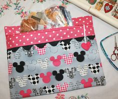 Pink Black Mickey Minnie Cross Stitch Sewing by sewmuch2luv, $32.00