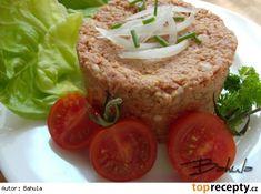 Špekáčikový tatarák / Buřtíkový tatarák Baked Potato, Ham, Steak, French Toast, Muffin, Tacos, Potatoes, Mexican, Baking
